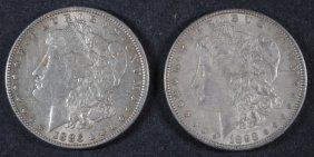 2 - Morgan Silver Dollars - 1886 & 1898, Circ
