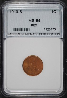 1919-s Lincoln Cent, Nnc Gem Red Bu Rare!!