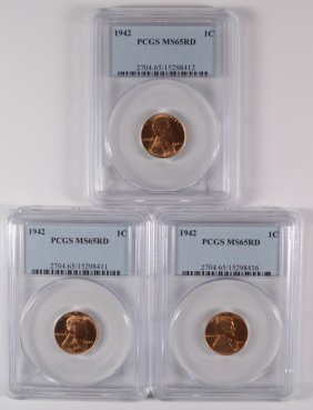 ( 3 ) 1942 Lincoln Cent, Pcgs Ms-65 Red