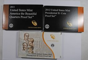 2011, 2012 & 2013 Presidential Dollar Proof Sets In