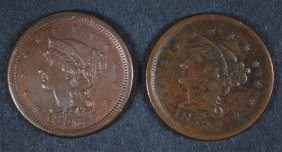 1853 & 1856 Large Cents Vf