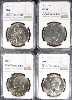 1977, 1977-d, 1978 & 1978-d Eisenhower Dollars, Ngc