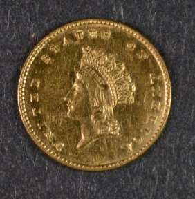 1854 $1 Gold Indian Princess Head T-2 Au/bu