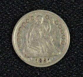 1857 Seated Liberty Half Dime Au