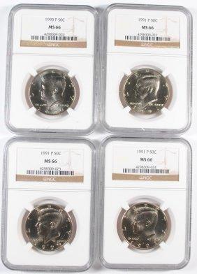 Ngc Kennedy Half Dollars: 1990-p Ms66, 3-1991 P Ms66