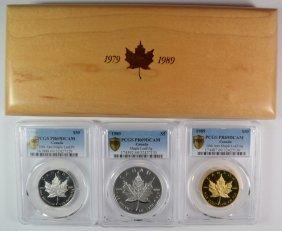 1989 Canadian 10th Anniv. Maple Leaf Proof Set: 1 Oz
