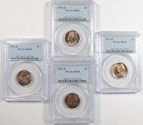 Lot Of ( 4 ) 1942-d Jefferson Nickels Pcgs Ms-65