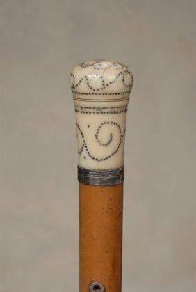 An 18th Century English Ivory Pique Pomander Cane