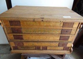 5 Drawer Oak Spool Cabinet