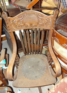 Oak Carved Pressback Office Chair
