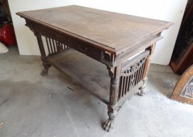 Ornate Carved Oak Library Table