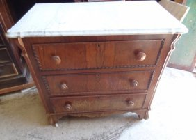 Marbletopped Rosewood 3 Drawer Chest