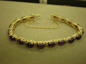 Amethyst And Diamond Tennis Bracelet. 14K Yg (test