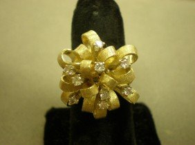 Diamond Bow Ring. 14K Yg (tested) With A Large Rib