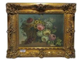 19th C Oil On Canvas Painting, Signed S. GIOJ