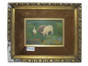 Antique Oil On Wood Painting. Signed VILA Y PLA