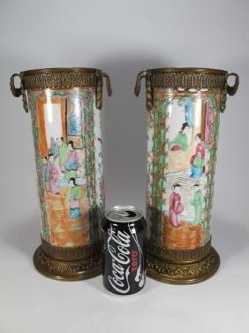 Antique Chinese Pair Of Bronze & Porcelain Vases