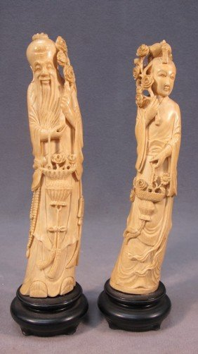 Chinese Pair Of Carved Ivory Figures
