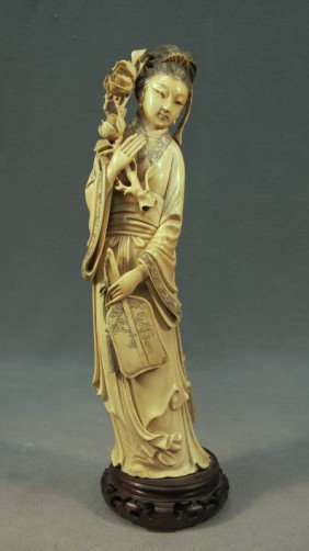 Chinese Carved Ivory Fig. Of Guanying