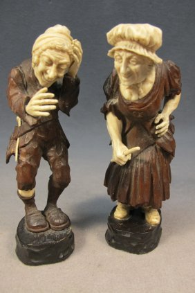 Pair Of Wood & Ivory Statues