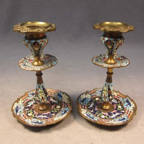 French Pair Of Bronze Champleve Candlesticks