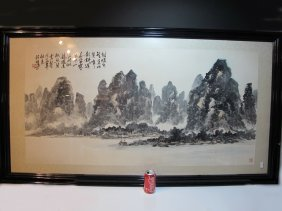 Huge Vintage Japanese Watercolor Painting, Signed