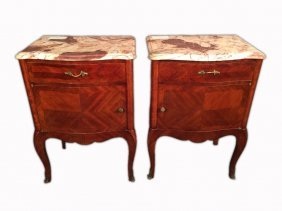 Pair Of French Louis Xv Nightstands With Marble Top