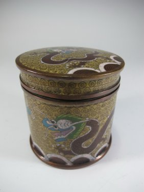 Antique Chinese Cloisonne Opium Box