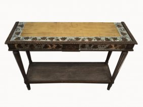 French Louis Xvi Gilt-leaf Patinated Walnut Console