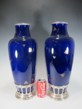 Antique Pair Of French Sevres Silver & Porcelain Vases