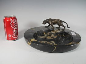 Antique French Bronze Panther Statue On A Marble Tray