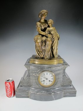 Antique French Bronze & Marble Clock