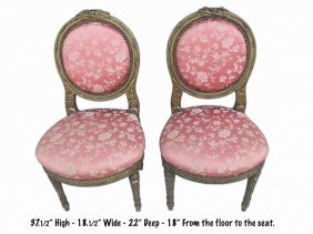 French Pair Of Louis Xvi Style Gilded Side Chairs