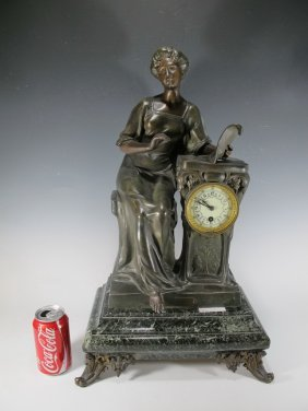 Antique French Spelter & Marble Clock, Somme