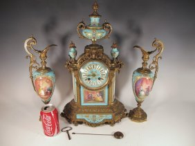19th C Japy Freres Bronze & Porcelain Clock Set