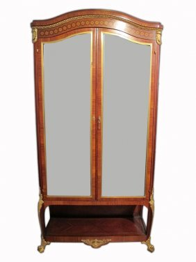 Antique French Louis Xv Ormolu Inlaid Vitrine