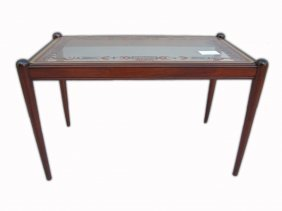 American 60's Walnut & Glass Top Coffee Table