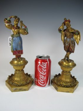 Antique Persian Pair Of Painted Bronze Statues