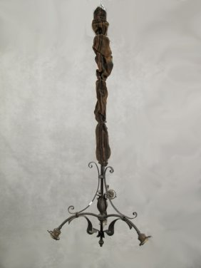Antique French Art Nouveau Bronze Chandelier