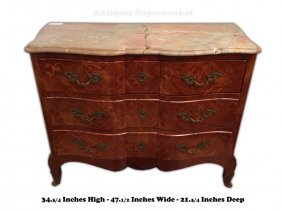 Antique French Louis Xv Style Chest With Marble Top