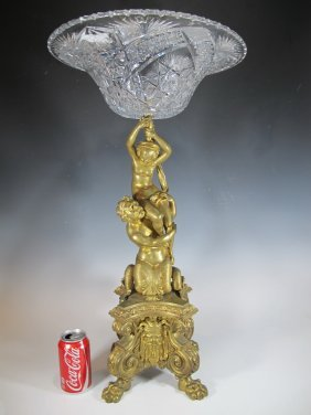 Barbedienne Quality Bronze & Glass Centerpiece
