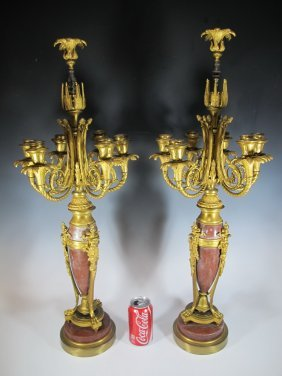 Probably Barbedienne Pair Of Bronze & Marble