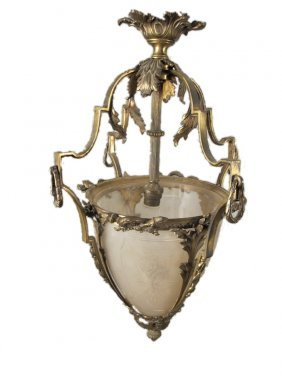 Antique French Glass & Bronze Lantern