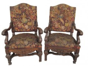 Huge Antique English Pair Of Armchairs