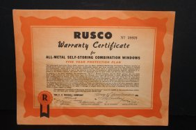 Neat 1951 Roscoe Warranties Certificate For Home