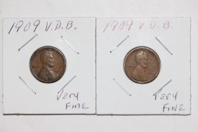 2 1909 V.d.b. Lincoln Cents Both Very Fine