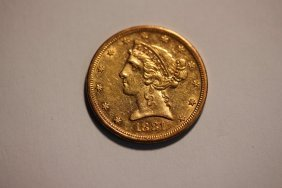 1881s Liberty Head $5.00 U.s. Gold Coin Extra Fine+