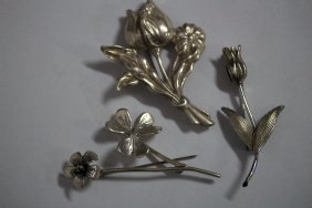 3 Large Sterling Silver Floral Brooches