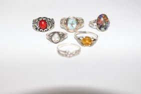 Six Assorted Sterling Silver Rings Sizes 4-7