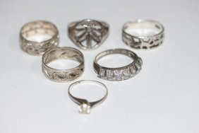 Six Assorted Sterling Silver Rings